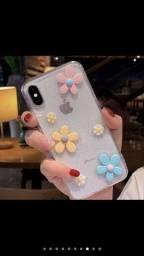 Case 3D Flowers Glitter