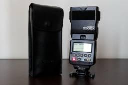 Flash Canon 550EX eTTL com case original de couro e mini soft box de brinde