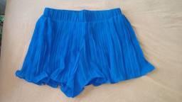 Short Saia Pregueado Azul