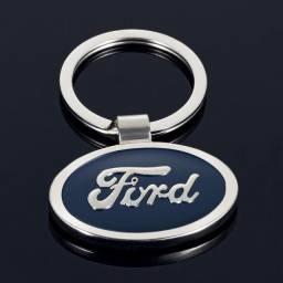 Chaveiro Cromado e Azul Ford Wpp: *