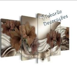 Quadro Mosaico 130x60 05 Peças Floral