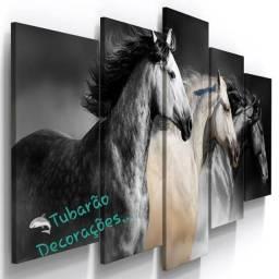 Quadro Mosaico 130x60 05 Peças Cavalos