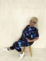 Calça Jogger Relaxing Velvet - Preto & Azul (do 40 ao 54)