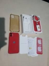 Título do anúncio: Iphone 11 Red 64gb completo.
