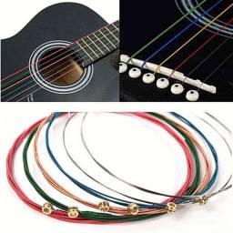 Cordas Rainbow Para Violão Guitarra Aço E Bronze Kit 6 Pcs