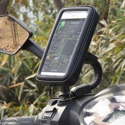 Suporte case a prova d'água retrovisor moto bike