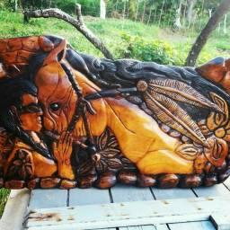 Título do anúncio: Entalhe em madeira india funi_ô