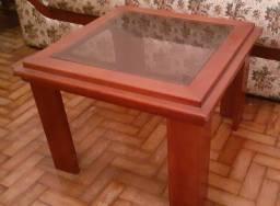Mesinha de centro em madeira e vidro