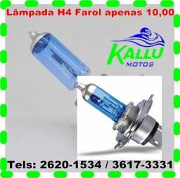 Lâmpada moto h4 super branca azul titan