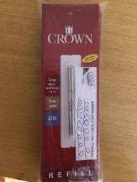 Refil carga mini esfero D1 ponta média Caneta Crown