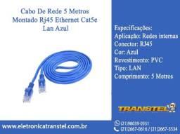 Cabo De Rede 5 Metros Montado Rj45 Ethernet Cat5Lan Azul