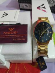 Relógio Masculino Nibosi Original Luxo Vidro Safira Anti-risco Lindo