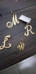 Promoção lindos pingentes de letras, banhados a ouro 18k novos, valor de cada