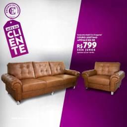 Promoção imperdível sofá em couro legítimo