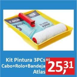 Kit Pintura 3PCs (cabo+rolo+bandeja) - Atlas - Promoção R$25,31