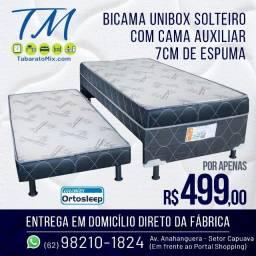 Título do anúncio: Bicama Unibox Solteiro com Cama Auxiliar 7cm Espuma Selada! Frete Grátis!!