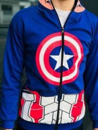 Casaco infantil capitão América  capuz máscara com zíper