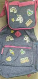 Título do anúncio: Conj escolar jeans mochila e lancheira térmica infantil