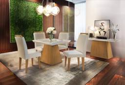 Título do anúncio: Mesa De Jantar Luna Rufato 4 Cadeiras em MDF + Vidro - Entrega Imediata;