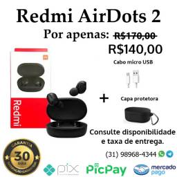 Redmi Air Dots 2 + cabo e capa (novo com garantia)