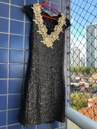 Título do anúncio: Vestido preto tubinho bordado, em paetê e renda