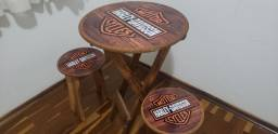 Conjunto de mesa e duas cadeira Harley Davidson