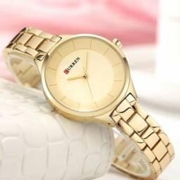 Relógio feminino top de luxo curren 9015 dourado