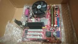 Kit de placa mãe, processador Intel, memória RAM e placa de video