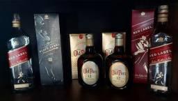 Título do anúncio: Caixas e garrafas VAZIAS Uísque whisky Old Parr e Johnnie Walker Red label -1L