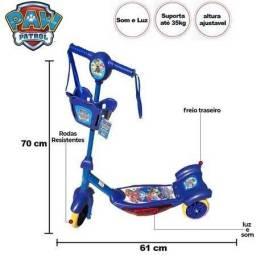Patinet Infantil 3rodas Patrulha Canina cestinha Scooters Luz/sons okm novo azul