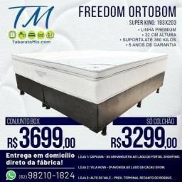 Título do anúncio: Conjunto Box Super King   Ortobom Freedom Linha Premium! 12X Sem Juros
