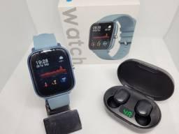 Título do anúncio: Relógio inteligente Smart P8 + Fone Bluetooth airdots (NOVOS)