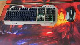Teclado e mouse gamer com iluminacao led rgb- kp-2054 (Lojas WiKi)