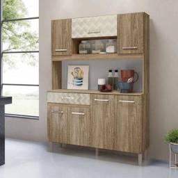 Armário 7 Portas 120 Cm  Nicioli Carv Rust/Off White Tridimensional