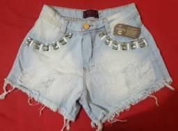 Short jeans feminino com pedraria tamanho (36)