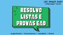 Título do anúncio: Soluções de Provas EAD/ Listas de Exercícios/ Trabalhos Acadêmicos para Engenharias