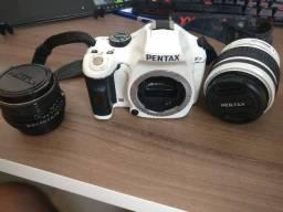 Câmera fotográfica Pentax KX branca com 2 lentes + cartão de memória 16gb