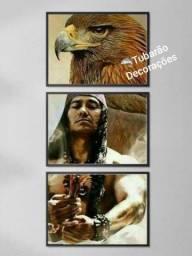 Quadro Mosaico 120x60 03 Peças Índios Americanos
