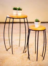 Jogo Mesa de canto - Tampo em madeira Eucalipto