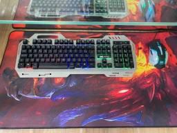 Kit Teclado Gamer Semi Mecânico Led Chroma + Mouse Led