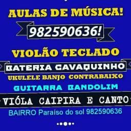 Aulas de violão guitarra teclado bateria ukulele cavaquinho