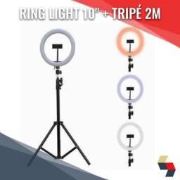 """Ring Light Profissional 10"""" 26cm + Tripé 2m"""