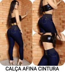 Calça Jeans Feminina Elástico Cós Alto Pronta Entrega