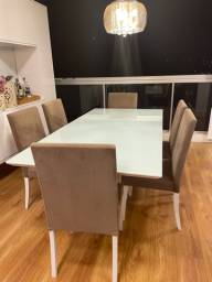 Mesa de Jantar 6 a 8 lugares Vidro Pintado Temperado