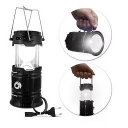 Lampião Lanterna De Led Recarregável Solar ou USB Camping