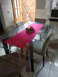 Título do anúncio: Mesa de jantar com vidro e 6  cadeiras