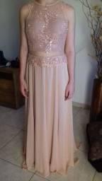Vestido longo de festa rosê bordado