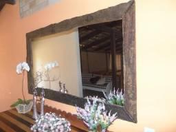 Espelho Grande Com Moldura De Madeira De Demolição
