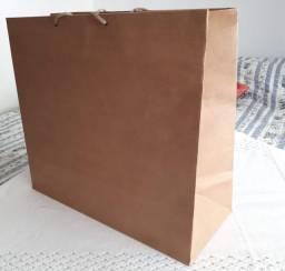 Sacola para loja ou restaurante tamanho grande papel kraft