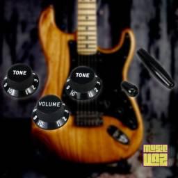 Kit Knobs Pretos Strato Guitarra Stratocaster